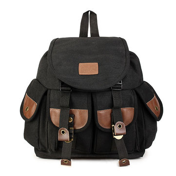 Vintage Women Canvas Leather Hiking Travel Military Backpack