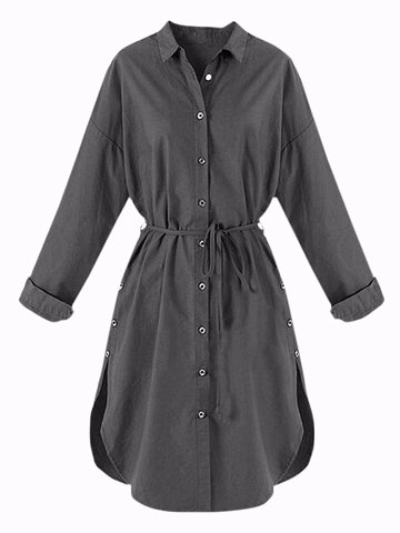 Belt Button Blouse Long Sleeve Lapel Mini Casual Women Dress