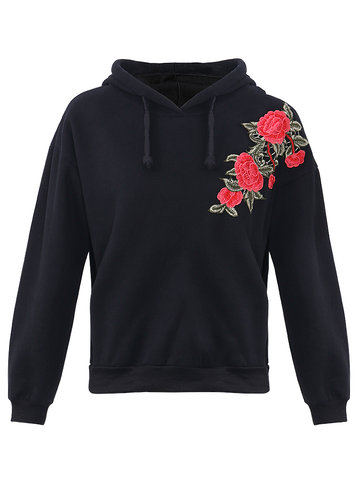 Sticker Hooded Casual Sweatshirts