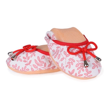 Leaves Pattern Bowknot Canvas Egg Roll Flat Loafers