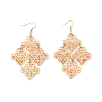 Bohemia Hollow Gold Plated Cutout Earrings