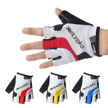 Mens Women Half Finger Breathable Sweat Bicycle Bike Gloves Anti-Slip Damping Outdoor Gloves