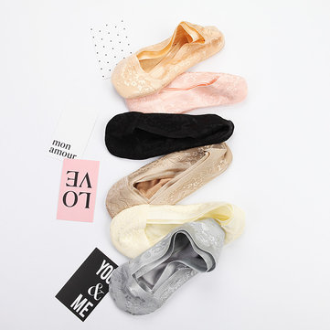 Women Invisible Antiskid Lace Cotton Boat Socks Shallow Liner No Show Peep Low Cut Hosiery