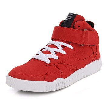 Red High Top Hook Loop Lace Up Pure Color Running Sport Shoes
