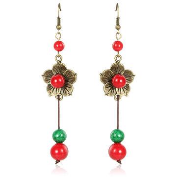 Ethnic Style Jewelry Flower Beads Tassel Drop Earrings