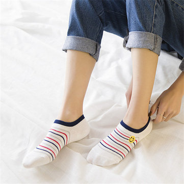 Women Cotton Cute Cartoon Embroidery AB Boat Socks Casual Invisible Ankle Socks