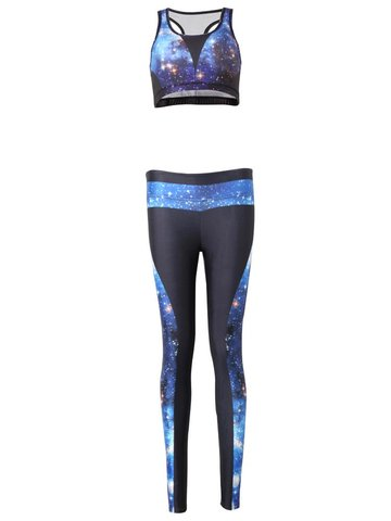 Women Galaxy Printed Stretchy Sports Workout Tracksuits