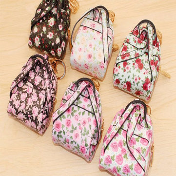 Colourful Floral Small Change Pocket Keychain