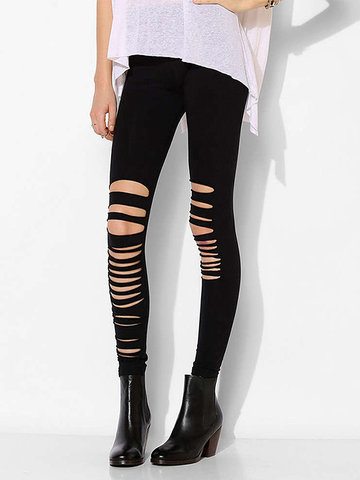 Sexy Slim Women Asymmetric Hollow Out Pencil Leggings