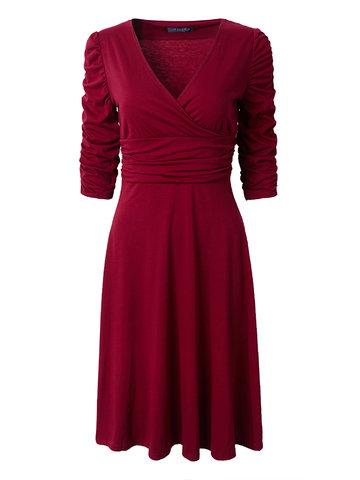 Women Tunic Meia luva plissada Vintage V-Neck Dresses