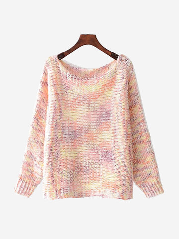 Gradient Long Sleeve Pullover Sweaters