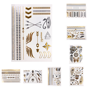 Metallic Metal Body Temporary Tattoo Sticker Decal Gold Silver Black