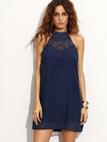 Повседневное кружевное лоскутное платье без рукавов Halter Mini для женщин