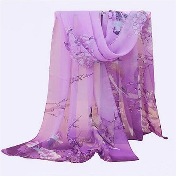 Women Soft Long Chiffon Scarf Wrap Print Magpies Primula Pattern Beach Shawls