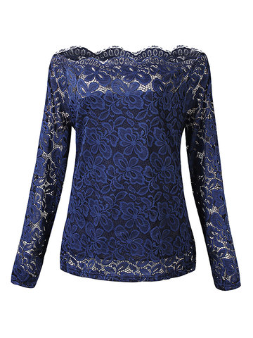 Sexy Fashion Women Strapless Collar Long Sleeved Slim Lace Top