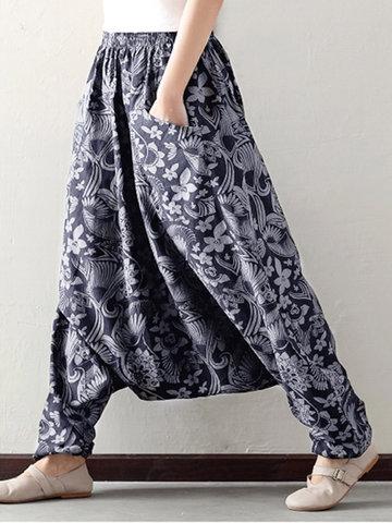O-NEWE Свободные печатные эластичные карманы для талии Гаремные штаны для женщин