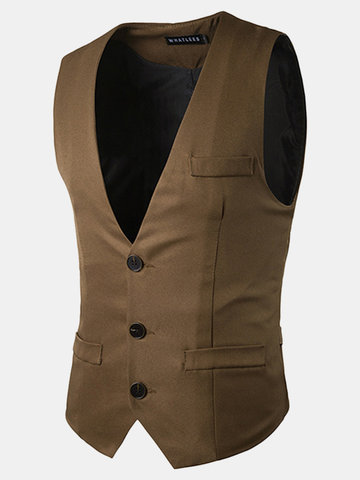 Formal Business Fashion Slim Fit Casual Pure Color Korean Style Single Breasted Vest for Men
