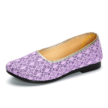 Pure Color Slip On Breathable Casual Flat Shoes For Women