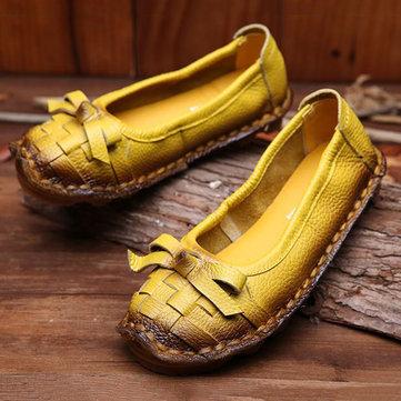 SOCOFY Bowknot Handmade Weave Original Retro Soft Flat Loafers