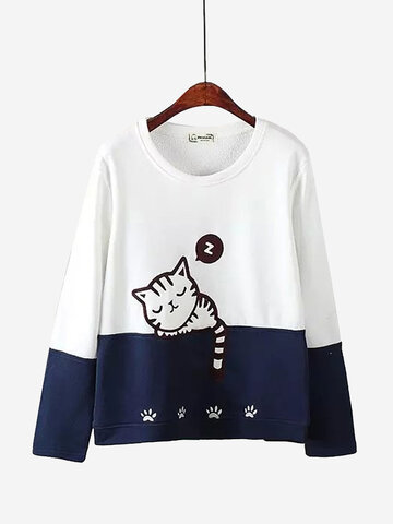 Cats Printed Contrast Color Sweatshirts