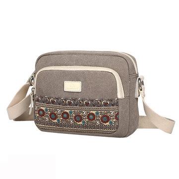 Женщины Ретро плече сумка Crossbody сумка Vintage Холст Sling Bag
