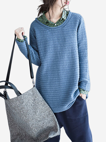Casual Pure Color Long Sleeve O-Neck Loose Knitted Sweaters For Women