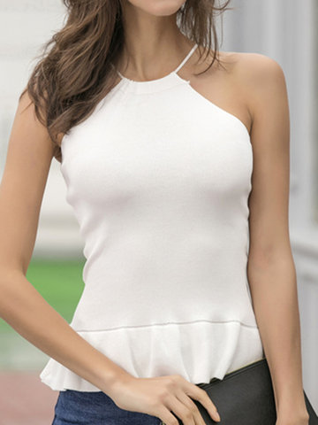 Sexy Solid O Neck Sleeveless Pleated Hem Women Tank Tops