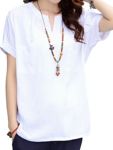Loose Solid Short Sleeves V-Neck Slim Linen T-Shirt For Women