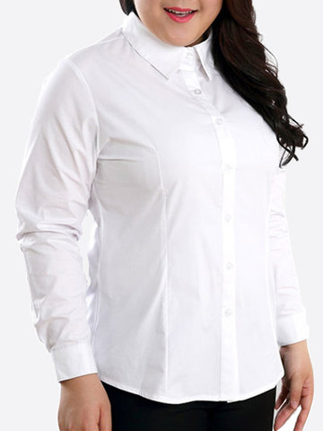Plus Size Solid Lapel Long Sleeve Button Work Shirt For Women