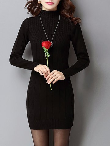 Sexy Solid High Collar Long Sleeve Knit Women Dresses
