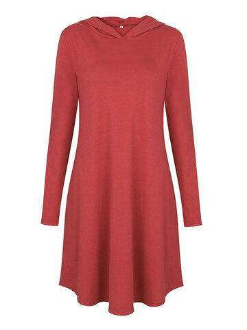 Vestidos de mujer de manga larga con capucha de color sólido breve informal