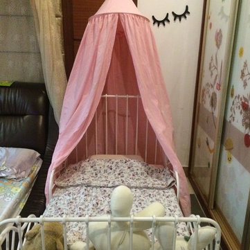 Pink Cotton Canopy Bed Netting Mosquito Bedding Net Bed Valance Baby Kids Reading Play Tents & Mosquito Net Travel Mosquito Net Pop Up Mosquito Net - NewChic