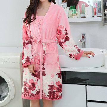 Уютный фланель с длинным рукавом Халат из курицы Держите теплую двухсекционную ночную рубашку для женщин