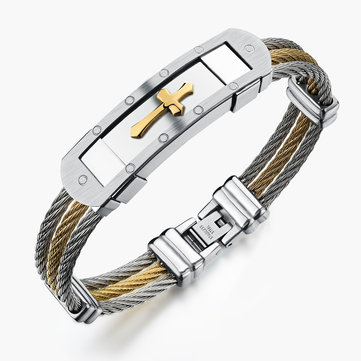 316L Stainless Steel Bracelet Cross Wristband Jewelry Bracelet Gift For Men