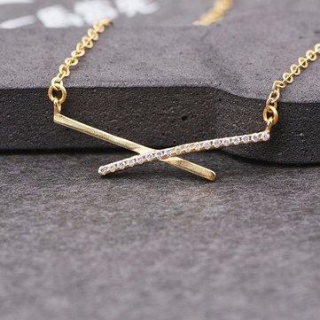 S925 Серебряный Zircon Пересечение Ключ ожерелье