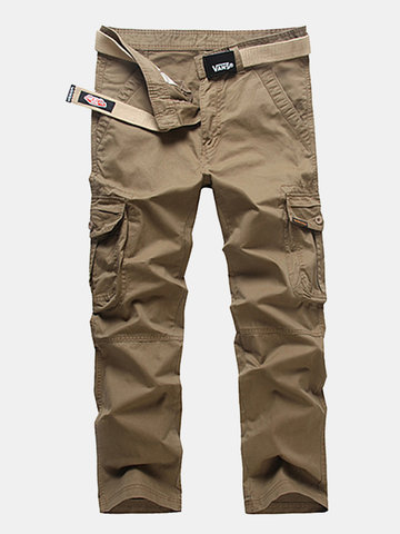 Buy Mens Outdoor Cargo Pants Seasons Solid Color Multi-pocket Cotton Casual Trouser