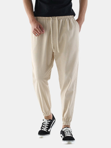 Mens Casual Breathable Cotton Linen Drawstring Regular Fit Solid Color Pants
