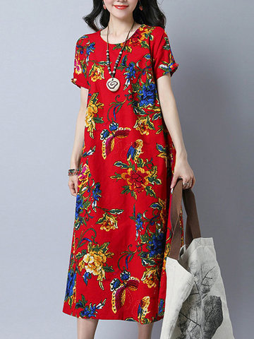Vintage Floral Printed Short Sleeves O Neck Dresses
