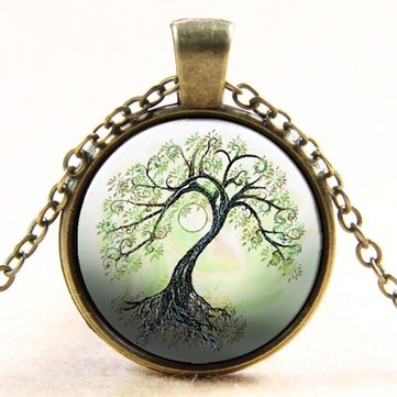Vintage Life of Tree Round Glass Cabochon Time Stone Bronze Necklace Gift for Her Him