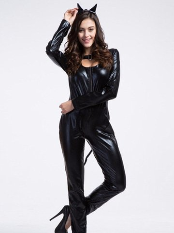 Sexy Animal Halter Tail Clubwear Halloween Costumes Women Jumpsuits