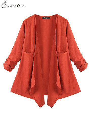 O-NEWE Elegant Loose Long Sleeve Irregular Jacket For Women