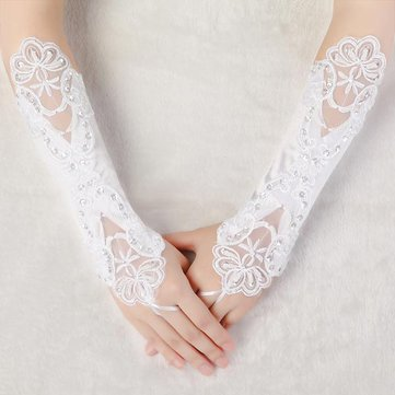 Women Bridal Wedding Dress Fingerless Embroidered Gloves