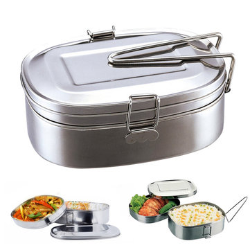 2 layer stainless steel lunch box bento box food container. Black Bedroom Furniture Sets. Home Design Ideas