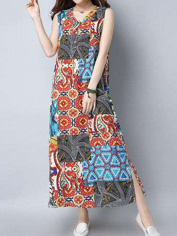 Folk Style Print Patchwork Sleeveless V-neck Dress For Women