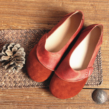 Socofy Genuine Leather Vintage Comfortable Soft Flat Shoes