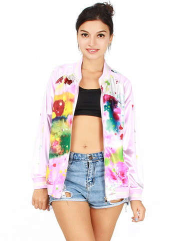 Women Casual Watercolor Stand Color Jacket