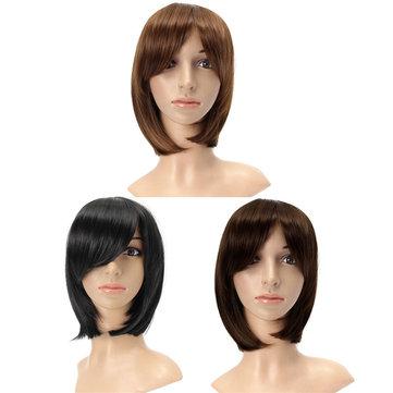 Женщины Короткие Коричневые Прямо Боб волосы Полный парик Cosplay Party Парики 3 цвета