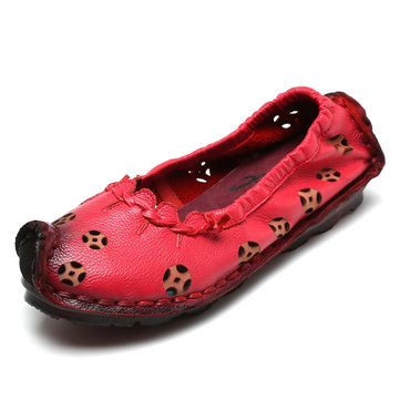 Socofy Leather Hollow Out Pure Color Vintage Egg Roll Flat Casual Shoes