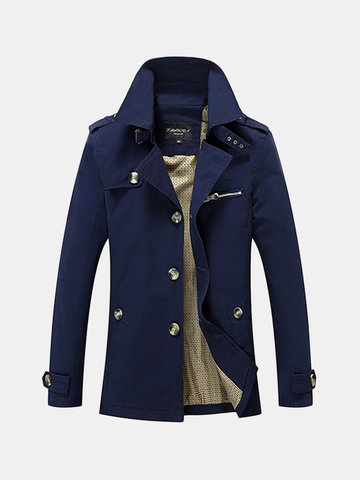 5XL Mid Long Washed Trench Coat