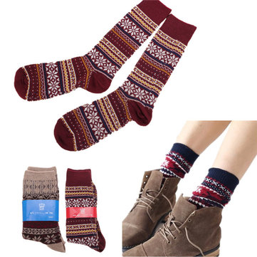 Men Women Stripe Cotton Socks Multi-Color Snow Design Casual Long Sock